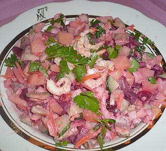 Винегрет c креветками, как делать винегрет с креветками, приготовить винегрет с креветками, винегрет морской, приготовить винегрет морской
